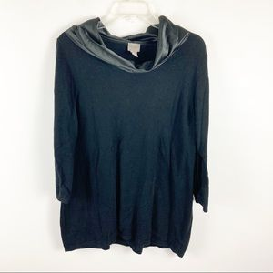 Chicos Easywear Black Cowl Neck Sweater